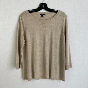J. CREW Cropped-sleeve Cream Linen Sweater